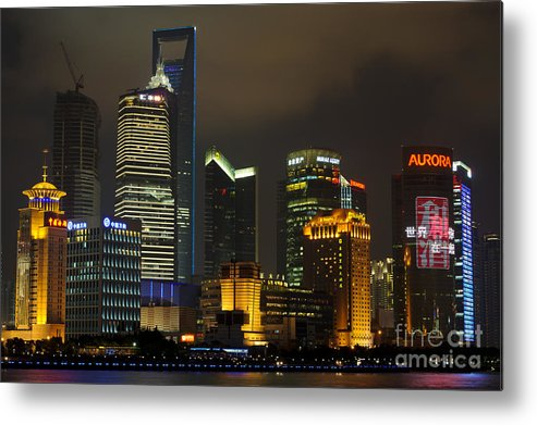 Asia Metal Print featuring the photograph Pudong At Night by John Shaw