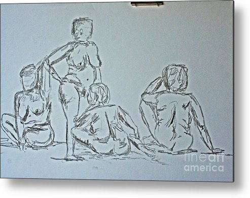 Nudes And Sketches Metal Print featuring the drawing Sketch Class by Julie Lueders