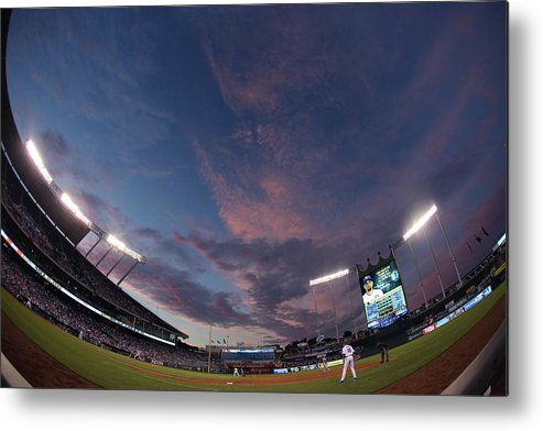 American League Baseball Metal Print featuring the photograph Los Angeles Dodgers V Kansas City Royals by Ed Zurga
