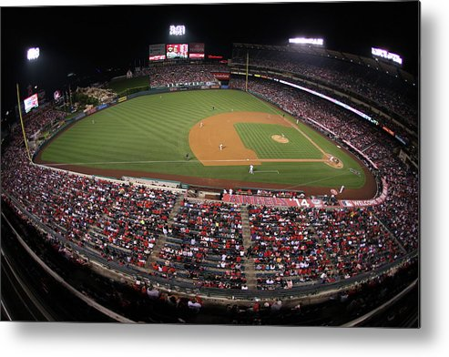 American League Baseball Metal Print featuring the photograph Oakland Athletics V. Los Angeles Angels by Paul Spinelli