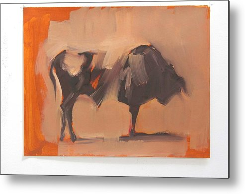 Red Metal Print featuring the painting Toro Study by Zil Hoque