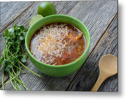 Green Metal Print featuring the photograph Tortilla Soup by Brandon Bourdages