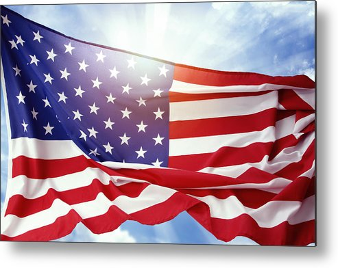 American Metal Print featuring the photograph American Flag by Les Cunliffe