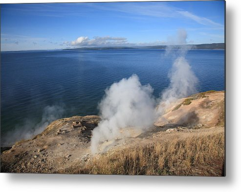 America Metal Print featuring the photograph Yellowstone Lake And Geysers by Frank Romeo