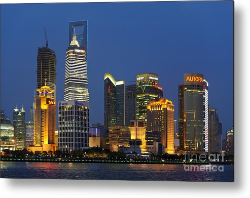 Asia Metal Print featuring the photograph Pudong Skyline by John Shaw