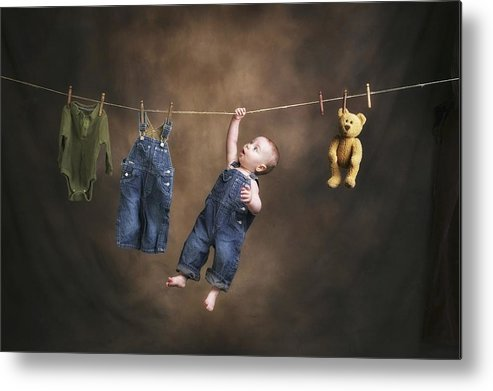 Clothing Metal Print featuring the photograph A Baby On The Clothesline by Pete Stec