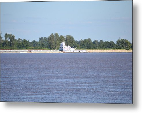 River Metal Print featuring the photograph A Barge On The Mississippi River by Kim Stafford