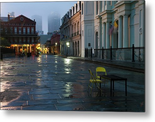 Dawn Metal Print featuring the photograph A Courtyard At Dusk With A Card Table by Karenmassier