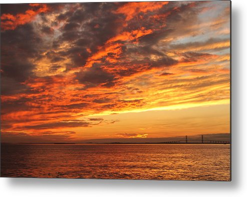 Sunset Sky Clouds Water Color Vivid Metal Print featuring the photograph A Moment Of Color by Jacquie Law