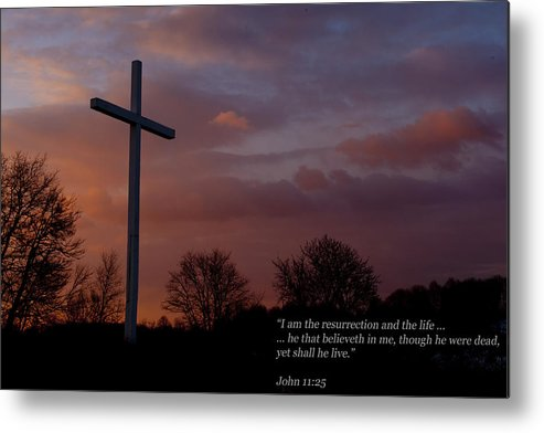 Cross Metal Print featuring the photograph A New Day Dawning - With Scripture by Paul R Sell Jr