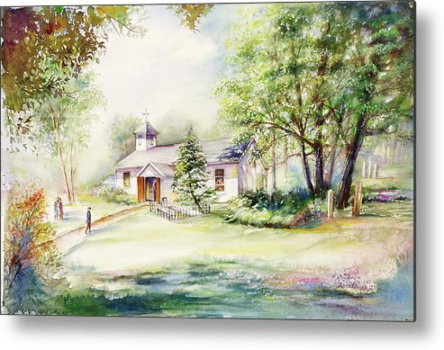 Landscape Metal Print featuring the painting A Rare Day by Patricia Schneider Mitchell