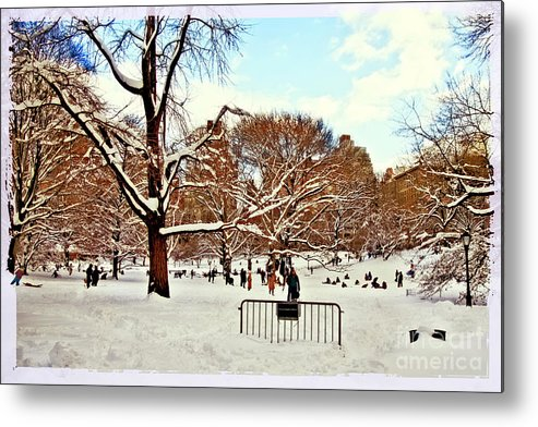 Owboards Metal Print featuring the photograph A Snow Day In Central Park by Madeline Ellis