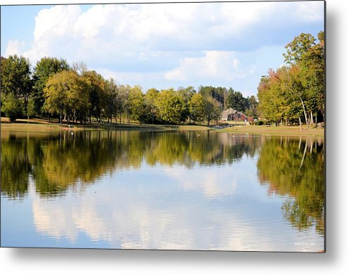 A Sunny Day's Reflections At The Lake House Metal Print featuring the photograph A Sunny Day's Reflections At The Lake House by Maria Urso