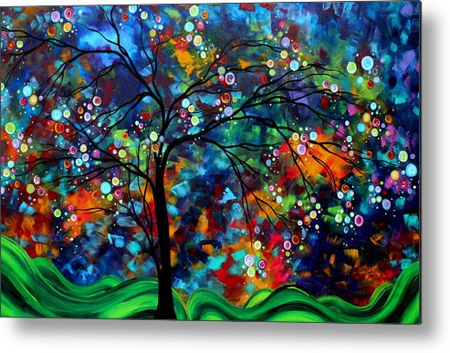 Abstract Metal Print featuring the painting Abstract Art Original Landscape Painting Bold Colorful Design Shimmer In The Sky By Madart by Megan Duncanson
