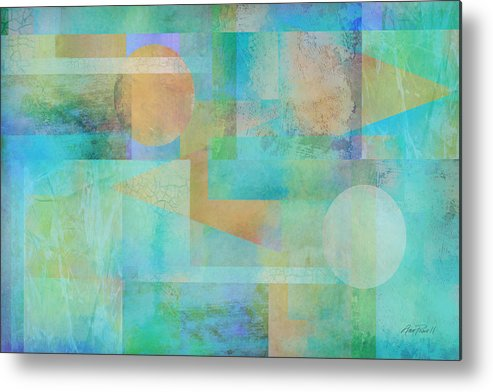 Abstract Metal Print featuring the digital art abstract art Tahitian Blue by Ann Powell