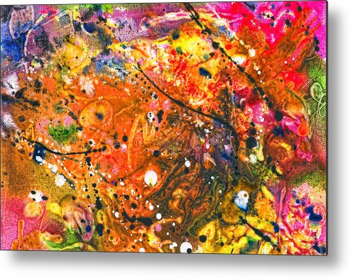 Abstract Metal Print featuring the mixed media Abstract - Crayon - The Excitement by Mike Savad