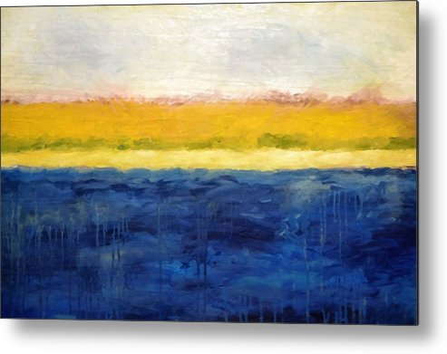 Abstract Landscape Metal Print featuring the painting Abstract Dunes With Blue And Gold by Michelle Calkins