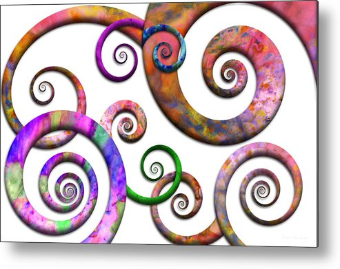 Abstract Metal Print featuring the digital art Abstract - Spirals - Planet X by Mike Savad