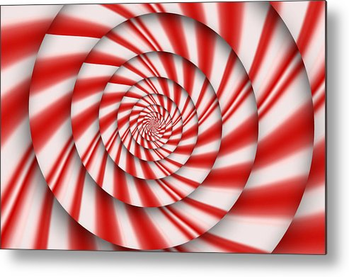 Abstract Metal Print featuring the digital art Abstract - Spirals - The Power Of Mint by Mike Savad