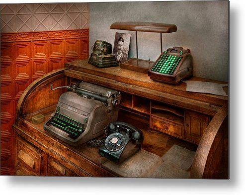 Accountant Metal Print featuring the photograph Accountant - Typewriter - The Accountants Office by Mike Savad