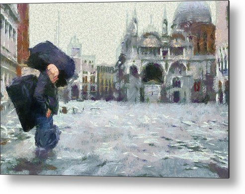 Acqua Alta Venice Metal Print featuring the painting Acqua Alta Venice by Clai