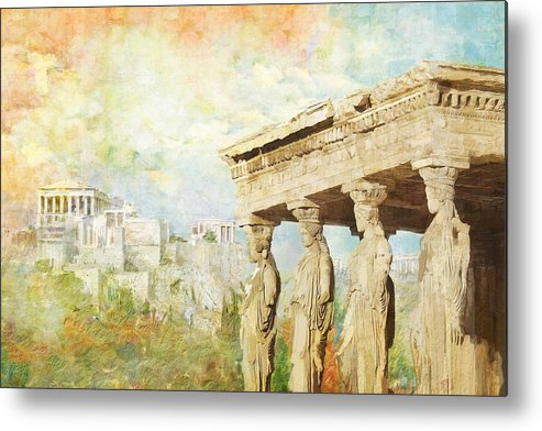 Greecetemple Of Apollo Epicurius At Bassaeacropolis Metal Print featuring the painting Acropolis Of Athens by Catf