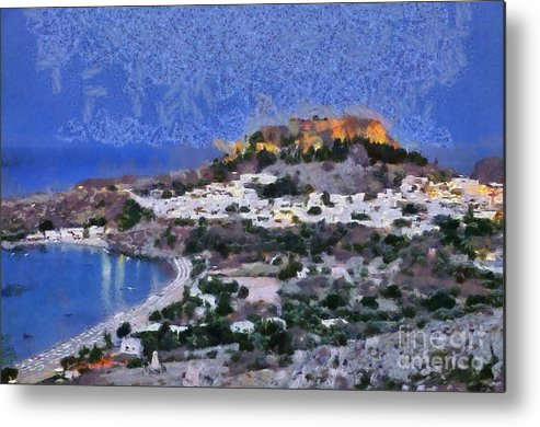 Rhodes Metal Print featuring the painting Acropolis Village And Beach Of Lindos by George Atsametakis