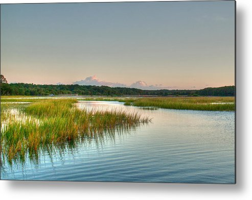 Sunset Metal Print featuring the photograph Across The Marsh by Angela Moore