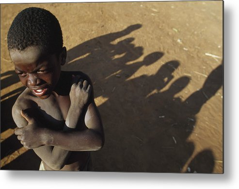 Toi Metal Print featuring the photograph African Boy, Bare-chested, Arms Crossed by Christopher Roberts