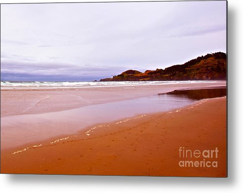 Agate Beach Oregon Metal Print featuring the photograph Agate Beach Oregon With Yaquina Head Lighthouse by Artist and Photographer Laura Wrede