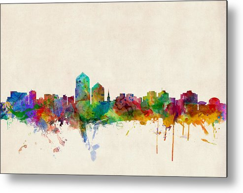 Watercolour Metal Print featuring the digital art Albuquerque New Mexico Skyline by Michael Tompsett