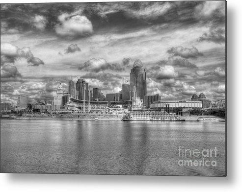 Cincinnati Metal Print featuring the photograph All American City 2 Bw by Mel Steinhauer