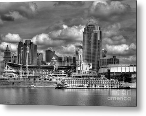 Cityscapes Metal Print featuring the photograph All American City Bw by Mel Steinhauer