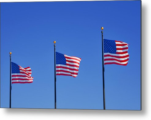 Three Metal Print featuring the photograph American Flags - Navy Pier Chicago by Christine Till