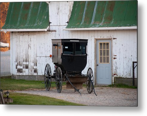 Amish Buggy Metal Print featuring the photograph Amish Buggy White Barn by David Arment