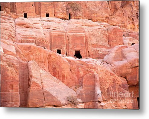 Ancient Metal Print featuring the photograph Ancient Buildings In Petra by Jane Rix