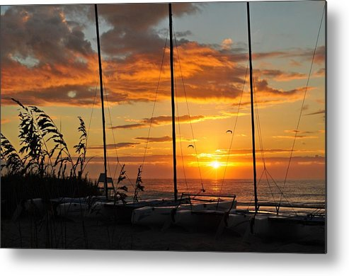 Ocean Metal Print featuring the photograph And The Day Begins by Robert Holley