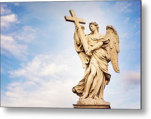 Angel Metal Print featuring the photograph Angel With The Cross In Ponte St Angelo by Roberto Adrian