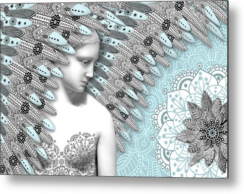 Angel Metal Print featuring the digital art Angelica Hiberna - Angel Of Winter by Christopher Beikmann