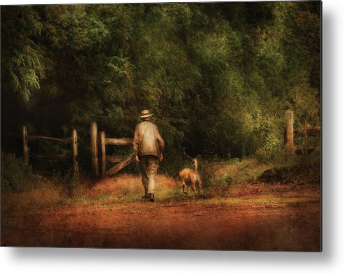 Savad Metal Print featuring the photograph Animal - Dog - A Man And His Best Friend by Mike Savad
