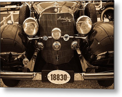 Mercedes Metal Print featuring the photograph Antique Mercedes Benz In Sepia by Douglas Barnett