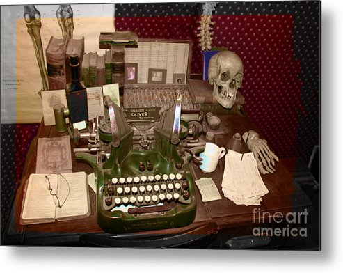 Typewriter Metal Print featuring the photograph Antique Oliver Typewriter  On Old West Physician Desk by Janice - Antique Oliver Typewriter On Old West Physician Desk Metal Print By