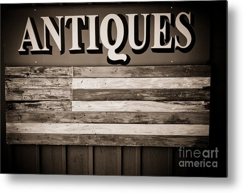 Antique Sign Metal Print featuring the photograph Antiques Sign by Colleen Kammerer