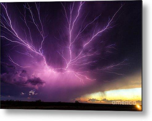 Lightning Metal Print featuring the photograph Anvil Crawler Lightning #1 by Marko Korosec