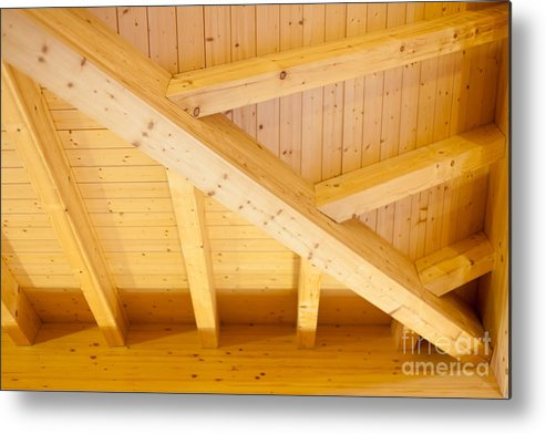 Angled Metal Print featuring the photograph Architectural Detail Of An Indoor Wooden Ceiling by Stephan Pietzko