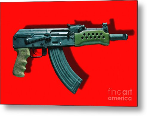Gun Metal Print featuring the photograph Assault Rifle Pop Art - 20130120 - V1 by Wingsdomain Art and Photography
