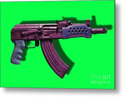 Gun Metal Print featuring the photograph Assault Rifle Pop Art - 20130120 - V3 by Wingsdomain Art and Photography