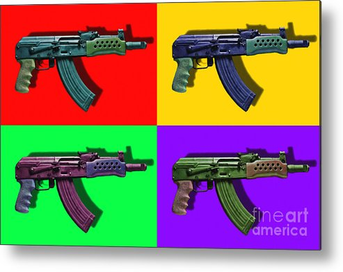 Gun Metal Print featuring the photograph Assault Rifle Pop Art Four - 20130120 by Wingsdomain Art and Photography