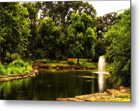 Pond Metal Print featuring the photograph August By The Fountain by Thomas Woolworth