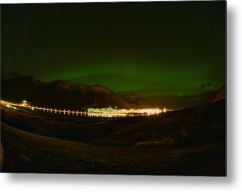 Aurora Borealis Metal Print featuring the photograph Aurora Borealis Over Siglufjord. by Erlendur Gudmundsson